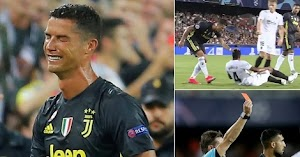 Ronaldo Walks Out Of Pitch In Tears After Red Card For Grabbing Opponent Head [Photos]