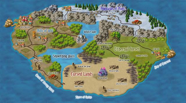 Mapa de uma ilha ou continente completa.