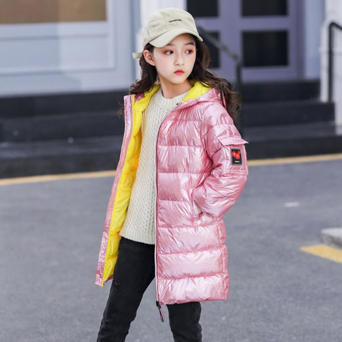 Russia Winter Jacket Kids Baby Girls Cartoon Printed Long Coats Warm Thick Jackets Children Outerwear Coat New Year Girl Clothes