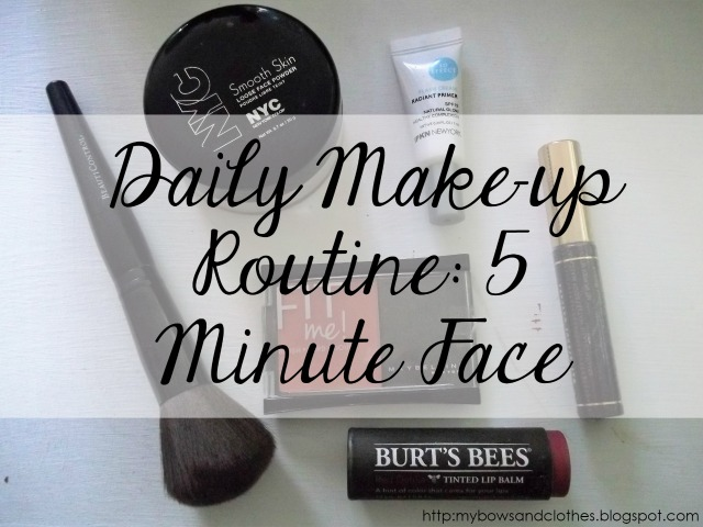 daily makeup routine five minute face translucent loose powder primer powder brush brown mascara coral blush burts bees tinted lip balm arrow pH tinted lip balm eos lip balm