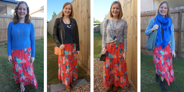 Kmart coral floral print tiered tropicana maxi dress layered 4 ways for winter awayfromblue