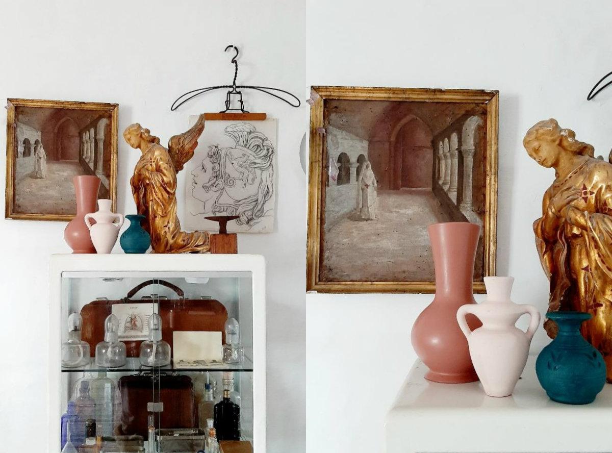 Antes y después de dos pupitres, transformación con pinturas Fleur
