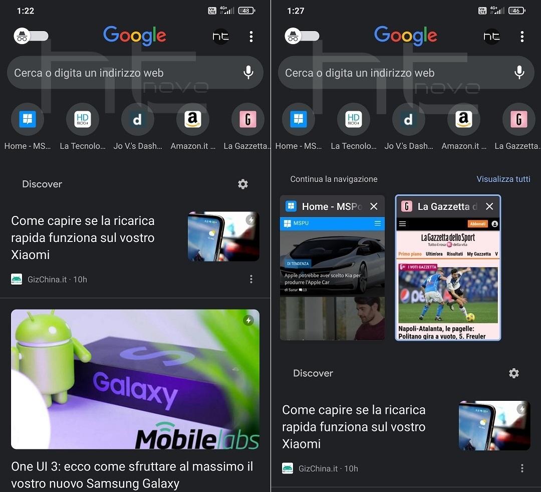 Google distribuisce la nuova Home di Chrome su Android