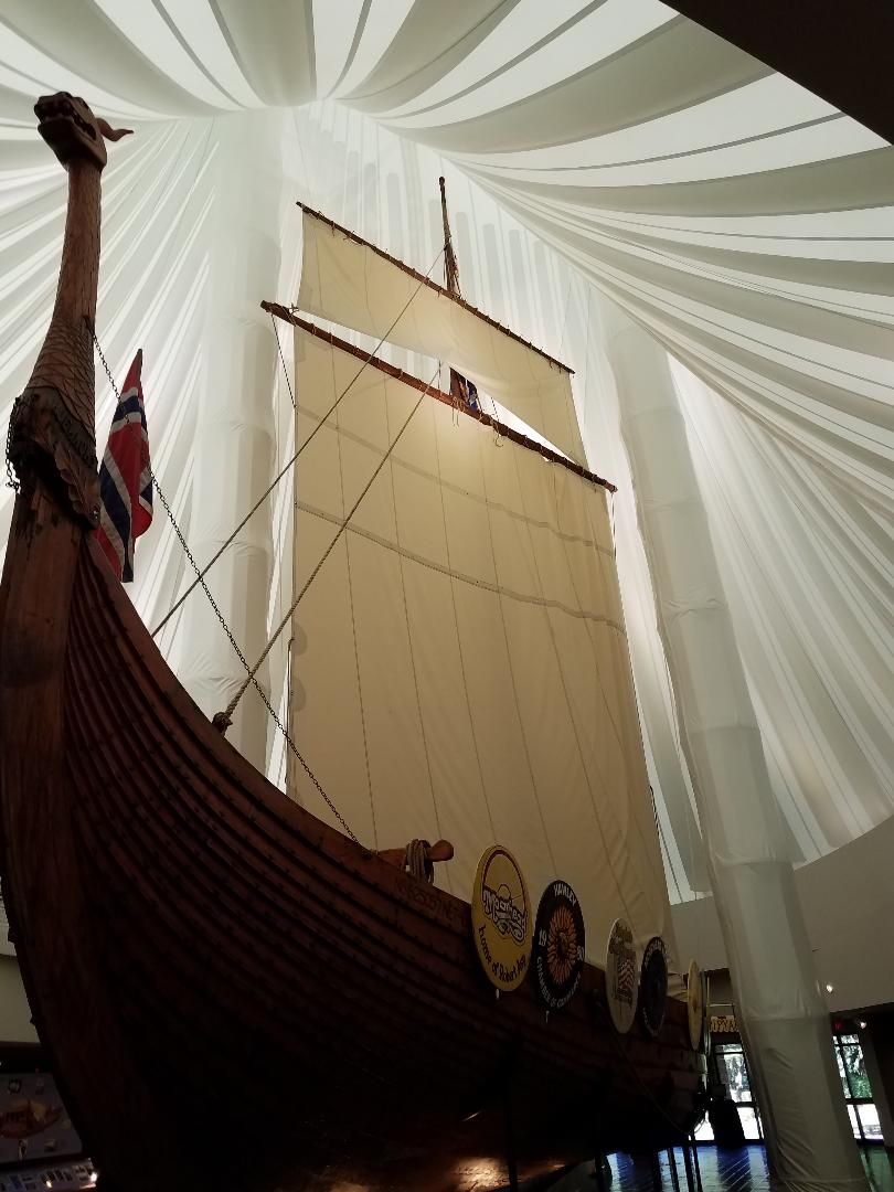 Replica Viking Ship at Hjemkomst Center, Moorhead, Minnesota,  Monday, June 14, 2021