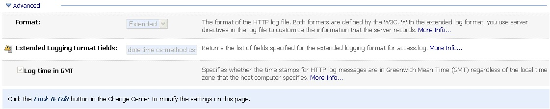Middleware Technologies Arena: Configure Extended Logging In HTTP