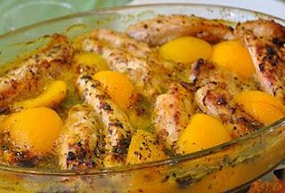 американский рецепт курицы с персиками