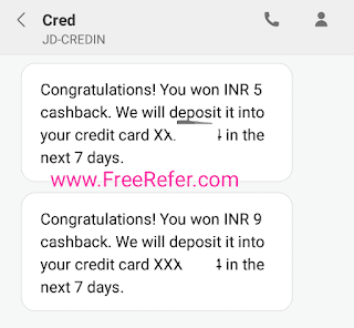 Cred app notification sms