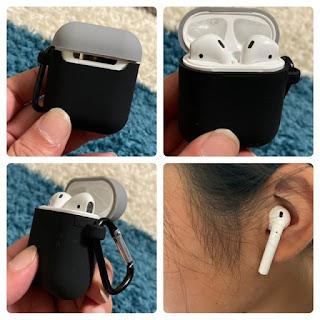 AirPodsとシリコンケースと耳に装着した状態