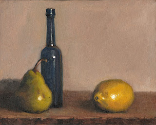 Still life oil painting with a lemon set slightly apart from a pear and a blue castor oil bottle.