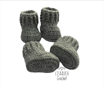 crochet baby booties free pattern 0-3 months. 3-6 months