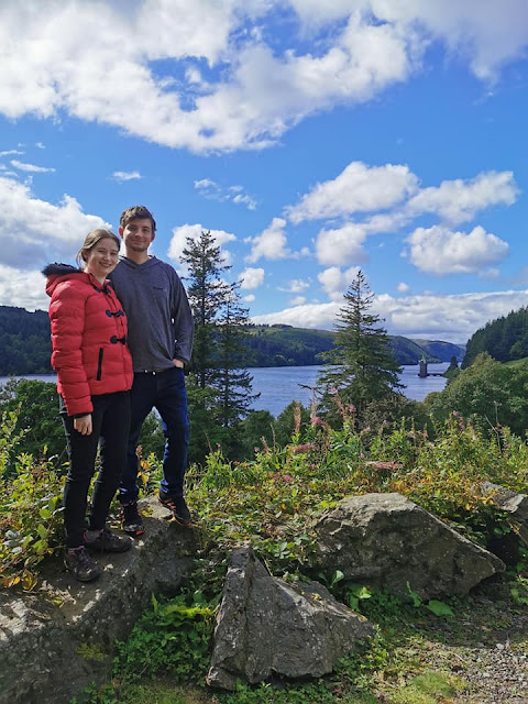 Me and my boyfriend in front of lake vyrnwy.