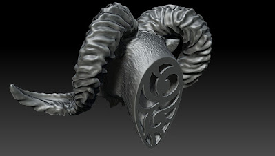 Bighorn Ram Head, Digital Sculpting, Custom Jewelry