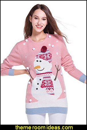 Women's Christmas Cute Snowman Snowflake Knitted Sweater Girl Pullover   ugly sweaters - Christmas ugly sweaters  - decorate yourself - womens ugly sweaters - ugly mens sweaters - embellished ugly sweaters - fun sweaters - novelty sweaters - Christmas party sweaters - quirky party sweaters -  Christmas party hats