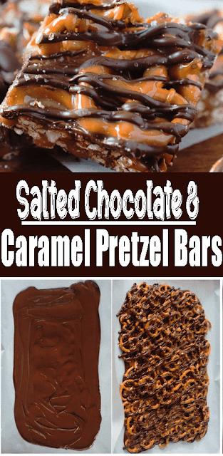 Salted #Chocolate and #Caramel Pretzel Bars