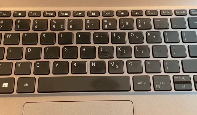 A chiclet keyboard of Acer Swift 3 SF314-57 laptop.