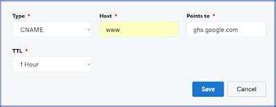 adding blogger domain name
