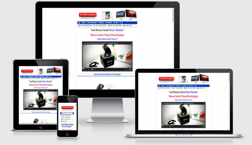 Template Toko online model 1 colom Landing Page Responsive