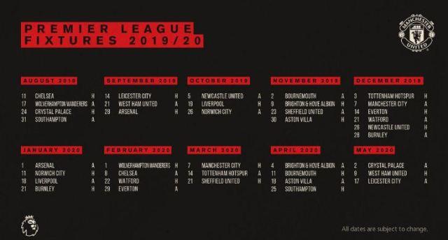 Jadwal Manchester United di Liga Inggris 2019/2020