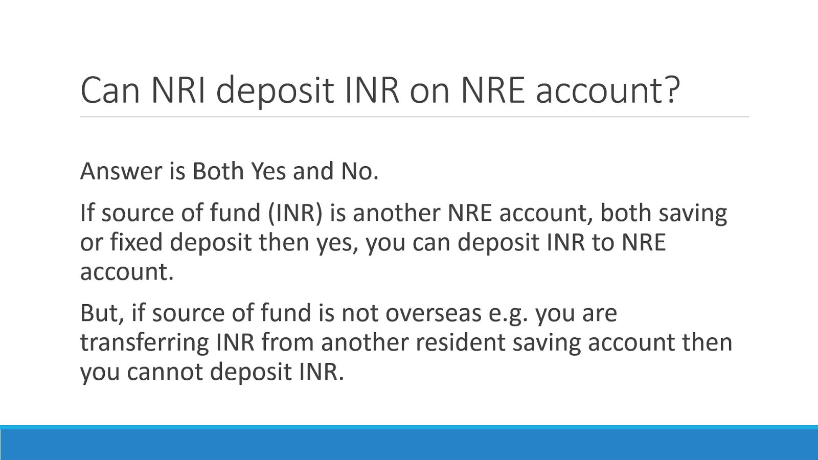 Nri Deposit Inr In Nre Account India