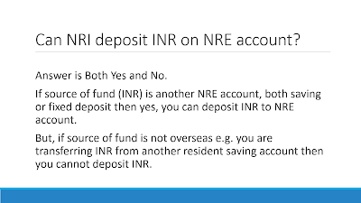 Can NRI deposit INR on NRE saving account
