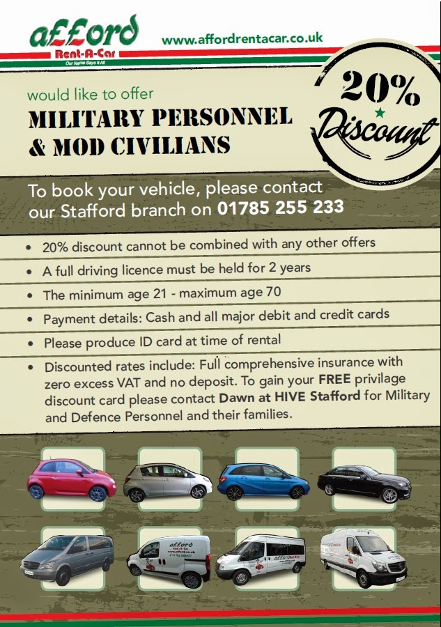 Military Discount Car Rental >> Stafford Hive Afford Rent A Car Offers 20 Discount To Military