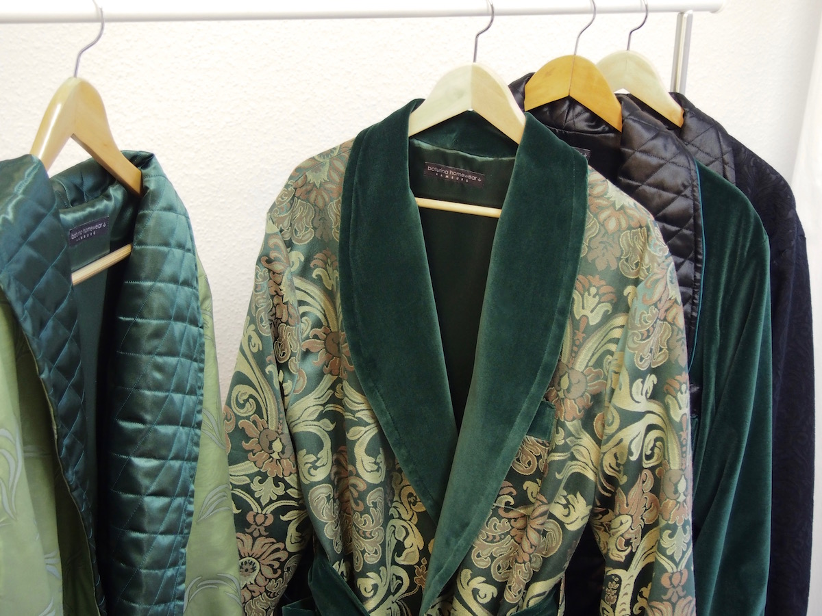 Green Floral and Paisley Jacquard Silk Quilted Dressing Gowns for Men