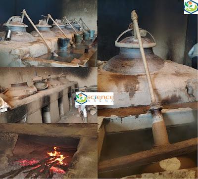 Parts of the tradition Deg,  Deg (still) Bhapka (receiver) Chonga (bamboo condenser) Traditional bhatti (furnace) Gachchi (cooling water tank) Kuppi (leather bottle)