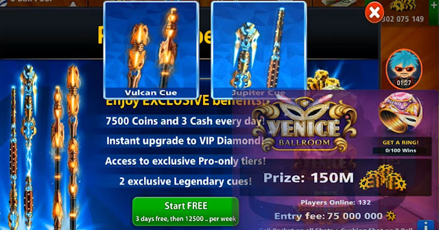 Table 150 Million 8 ball pool and Legendary for free
