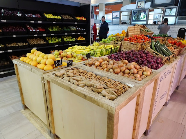 A selection of fresh fruit and veg at organic food market