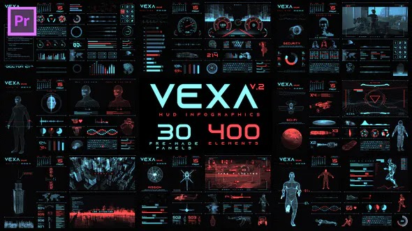 Videohive Vexa HUD Infographics Essential Graphics Mogrt 23582404