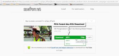 Contoh gambar pilih format video untuk mendownload