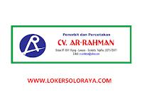 Lowongan Kerja Percetakan Solo Tukang Gambar dan Marketing di CV Ar Rahman