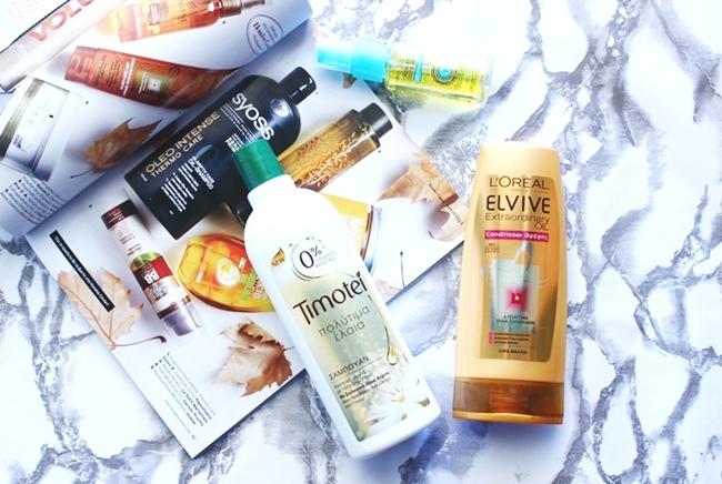 """Haircare products with Precious oils.L'oreal Elvive """"Extraordinary Oil"""" conditioner/balzam za kosu.Avon Advance Techniques """"Moroccan argan oil"""" leave-in-treatment/tretman bez ispiranja.Timotei """"Precious oils"""" shampoo/sampon."""