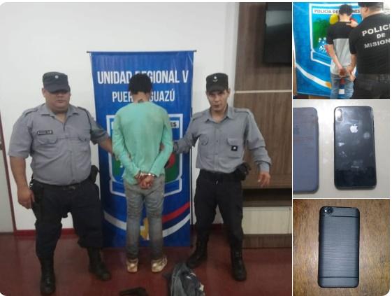 PUERTO IGUAZÚ : La Policía detuvo a dos arrebatadores y recuperó celulares robados