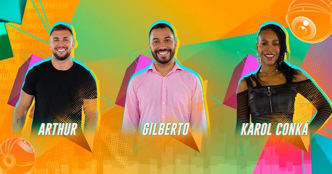 BBB: Paredão formado, Arthur, Gilberto e Karol Conká estão na berlinda