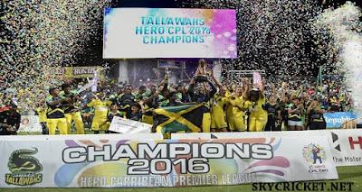 Jamaica Tallawahs winning CPL 2016 Trophy