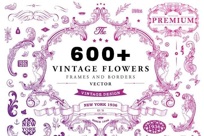 CreativeMarket 600+ Vintage Frames and Emblems 698008