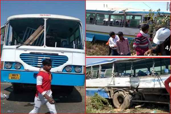 two-bus-accident-aligarh-ballabhgarh-palwal-depot-news