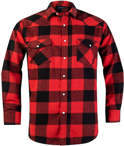 Red Black Men's Plaid Flannel Shirts With Snap Buttons