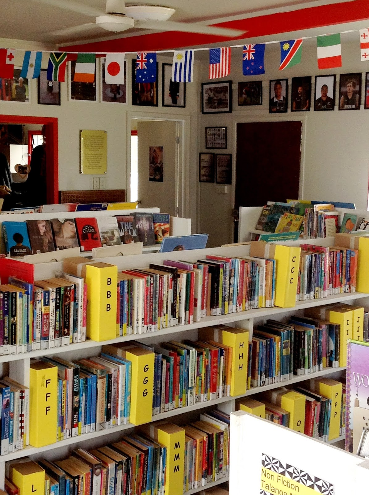 A photo of books on library shelves