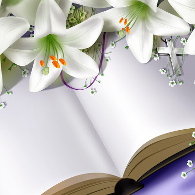 Book and flowers, Easter e-cards download free wallpapers for Apple iPad