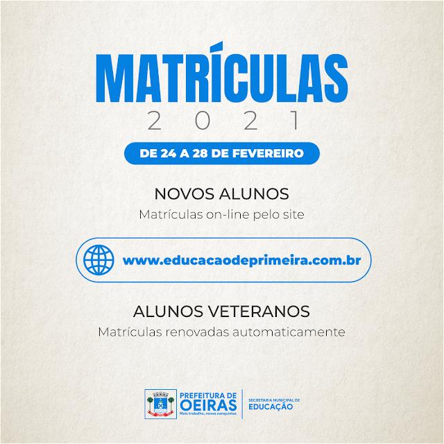 Tem inicio as Matrículas das escolas municipais de Oeiras