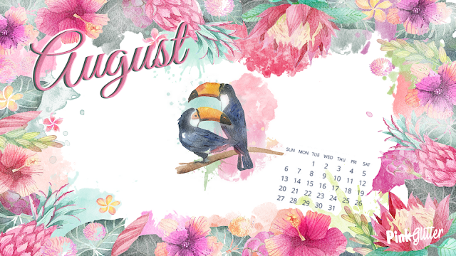 fond d'écran wallpaper ordinateur mac gratuit avec calendrier summer exotique tropical toucan