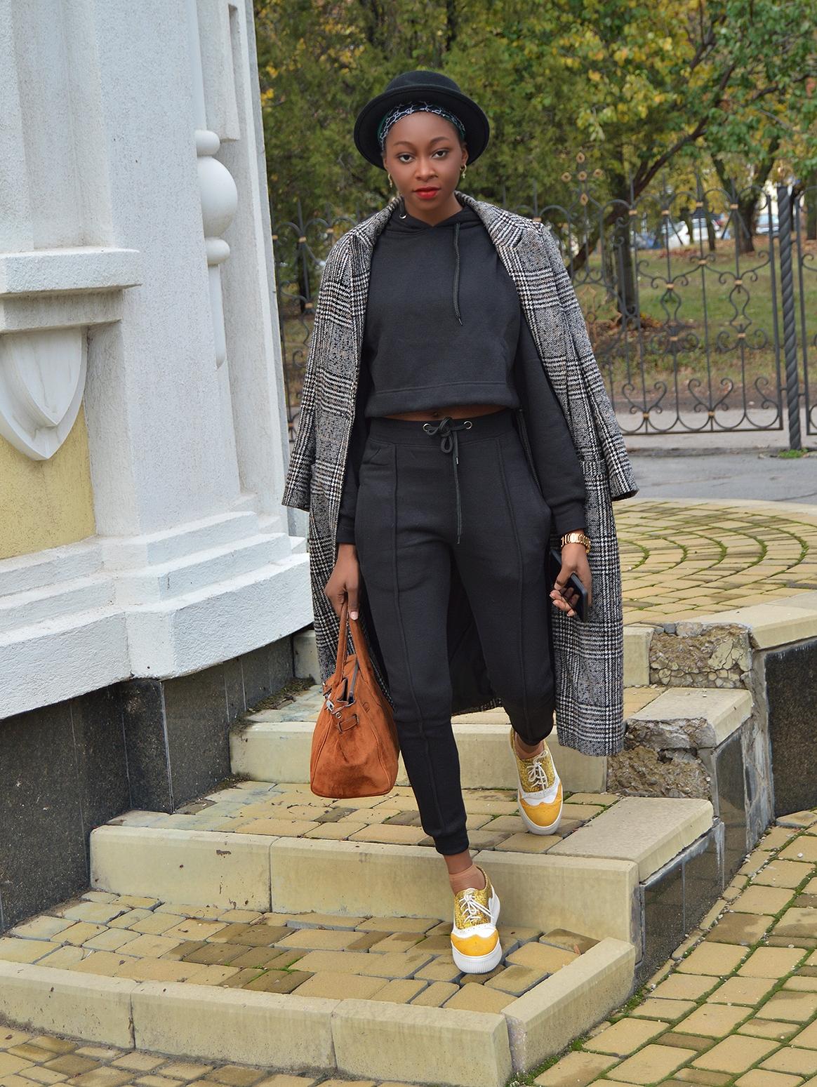 Loungewear Set with plaid coat