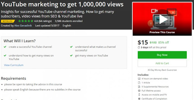 [85% Off] YouTube marketing to get 1,000,000 views| Worth 100$