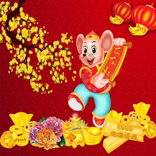 Download vector con chuột vàng