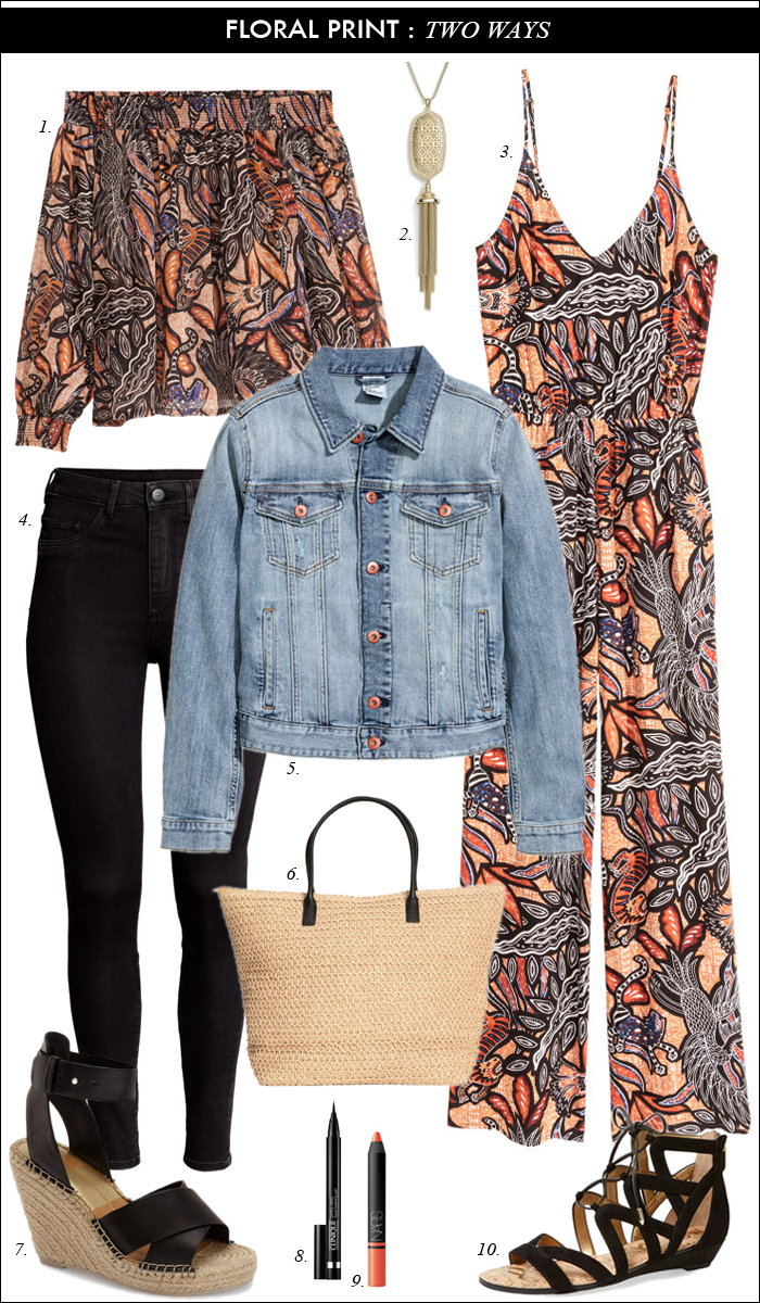 denim jacket_floral jumper_off shoulder top_spring outfit_summer outfit