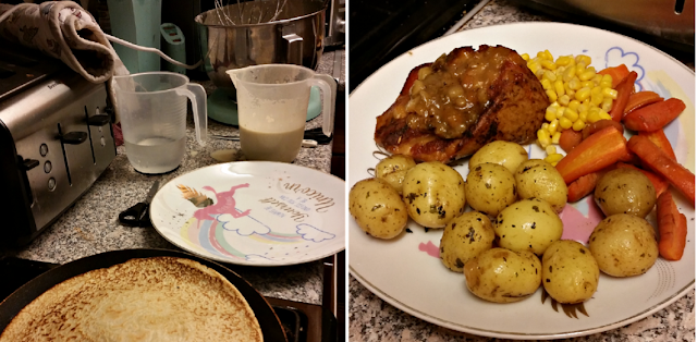 Pancakes and a pork dinner