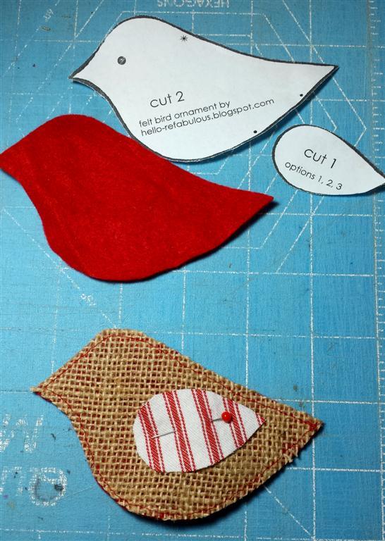 Refabulous how-to para feltro e enforcamento ornamento de Natal, pássaro vermelho