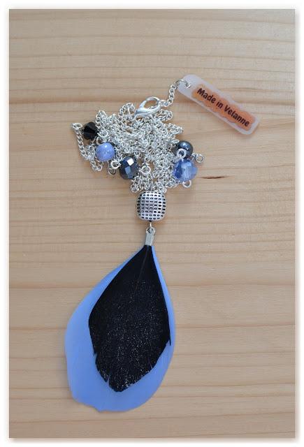 sautoir made in velanne argenté noir et bleu